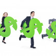 Business people running with dollar sign — Stock Photo #52449525