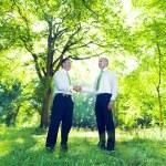 Green Business Handshake — Stock Photo
