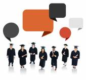 Successful Graduation Student with Speech Bubble — 图库照片