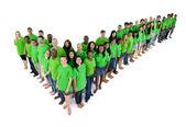 Large group of multi-ethnic people making a tick shape — Stock Photo