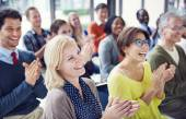 Multiethnic Cheerful People Applauding — Stock Photo