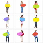 People holding speech bubbles — Stock Photo