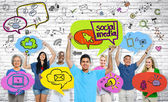Social Media Communications Group of people — Stock Photo