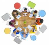 Group of People Around Table — Stock Photo