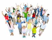 Crowd of people cheering — Stock Photo