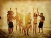 People party on beach — Stock Photo