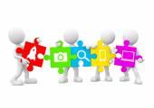 Three Dimensional Image of White Human Icons Holding Jigsaw Piec — Stockfoto