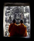 Contemplating Monks in Cambodia — Stock Photo