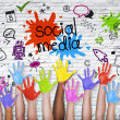 Social Media graphic with colorful hands — Stock Photo #52450687