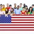 Large Group of People Holding American Flag Board — Stock Photo #52451013