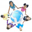 Multi-Ethnic Children Holding Hands Around Globe — Stock Photo #52453115