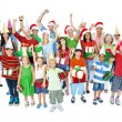 Family with Christmas hats — Stock Photo #52454831