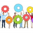 Group of People Holding Gears — Stock Photo #52459561