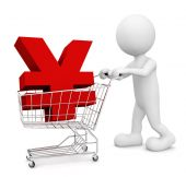 3D man pushing cart with Yen symbol — Foto de Stock