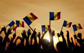 People Waving Romanian Flags — Stock Photo