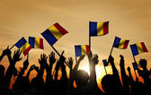 People Waving Romanian Flags — 图库照片