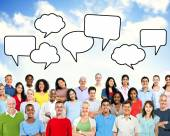 People Beneath The Blank speech bubbles — Stock Photo