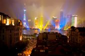 Pudong on rainy national holiday — Stock Photo