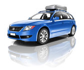 Three Dimensional Image of a Blue Car — Stockfoto