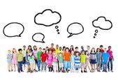 Large Group of Multiethnic Children Speech Bubbles — Stock Photo