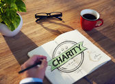 Businessman's table with Charity Concept — Foto Stock