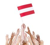 Arms Raised for Flag of Austria — Foto Stock