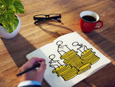 Businessman Brainstorming on a Financial Concept — Stockfoto