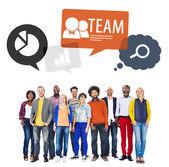 Teamwork in diversified environment — Stock Photo