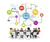Group of People in a Meeting and Social Networking — Stock Photo