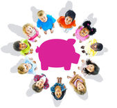 Multi-Ethnic Group of Children and Savings Concepts — Stock Photo