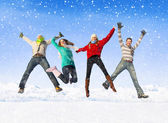 Friends having fun in snow — Stock Photo