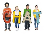 People Standing Holding Chat — Stock Photo