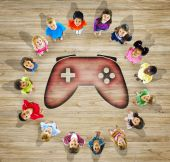 Group of Children With GAme Controller — Foto Stock