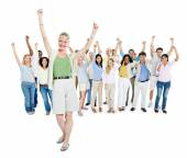 People Celebrating with Arms Outstreched — Stock Photo