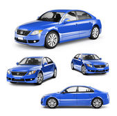 Image of a Blue Car on Different Positions — Stock Photo