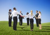 Group of business people in circle — Stock Photo