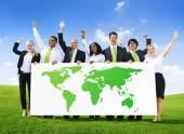 Business people with World Success — Stock Photo