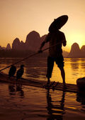Traditional cormorant fishing, Li River — Stock Photo