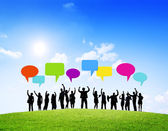 Group of Business Successful With Speech Bubbles — Stock Photo