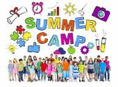 Multi-Ethnic Group of Children with Summer Camp Concepts — Stock Photo
