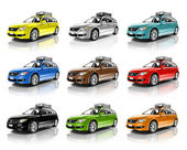 Collection of Colorful 3D Family Cars — Stock Photo