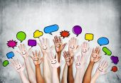Hands Raised with Speech Bubbles — Stock Photo