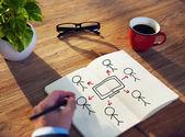 Businessman Drawing Television Broadcasting Concept — ストック写真