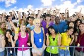 Large Group of People Celebrating — Stockfoto