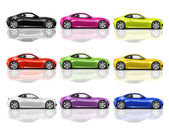 Multicolored 3D Modern Cars — Zdjęcie stockowe