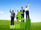Business People Holding British Pound — Stockfoto