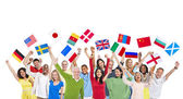 People holding their flags — Stock Photo