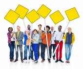 People Holding Yellow Blank Signs — Foto Stock