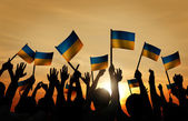 People Waving Ukranian Flags — Stock Photo