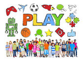 Multiethnic Group of Children and Play Concept — Stock Photo